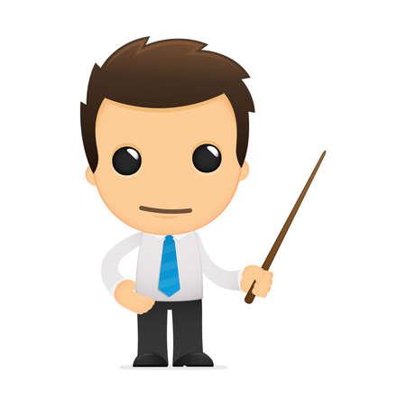 educadores: divertida caricatura de empleado de oficina