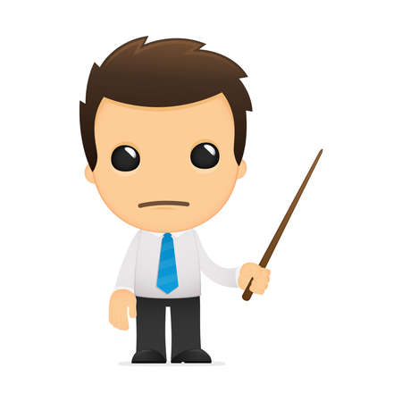 white pointer: funny cartoon office worker Illustration