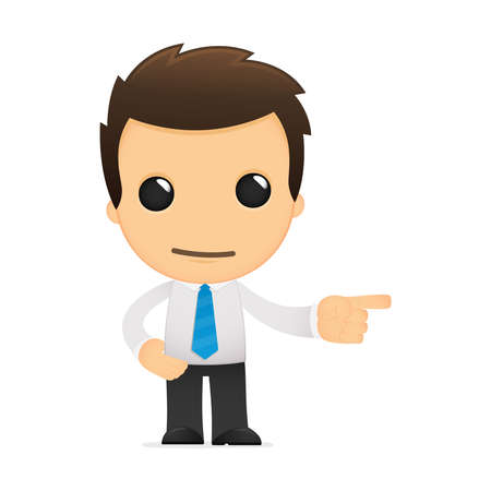 finger index: funny cartoon office worker Illustration