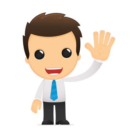 офис: забавный мультфильм офисного работника Иллюстрация