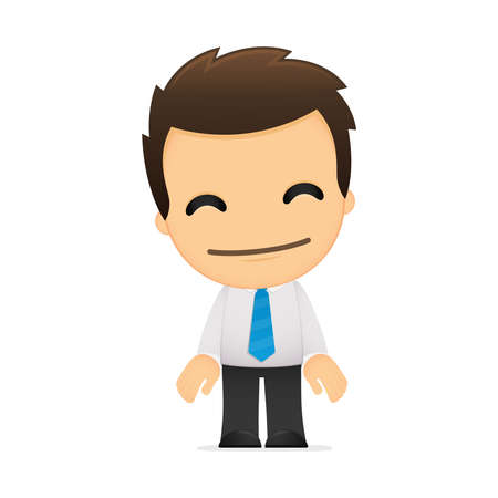 cartoon man: funny cartoon office worker Illustration