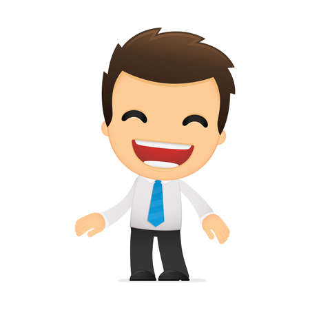 comedian: funny cartoon office worker Illustration