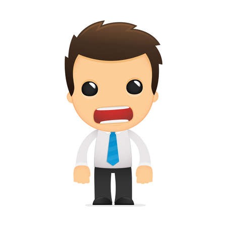 angry businessman: funny cartoon office worker Illustration