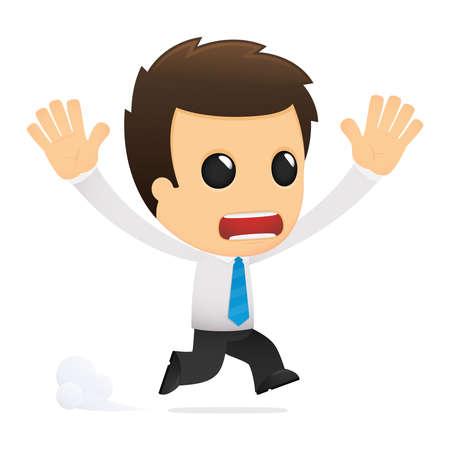 paniek: grappige cartoon kantoor werknemer