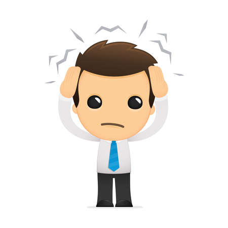 hombre preocupado: divertida caricatura de empleado de oficina