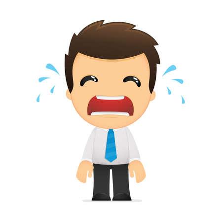 empresario triste: divertida caricatura de empleado de oficina