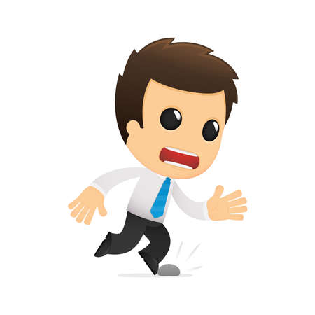 stumble: funny cartoon office worker Illustration