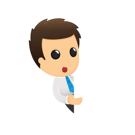 white collar worker: funny cartoon office worker Illustration