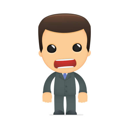 angry businessman: funny cartoon boss Illustration