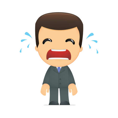 adult crying: funny cartoon boss Illustration