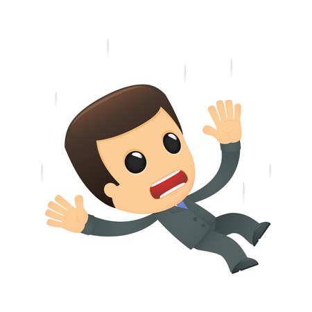person falling: funny cartoon boss Illustration