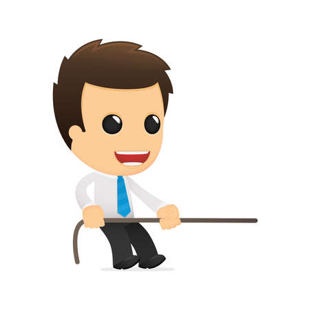 strong message: funny cartoon office worker Illustration