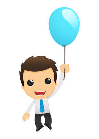 inflated: funny cartoon office worker Illustration