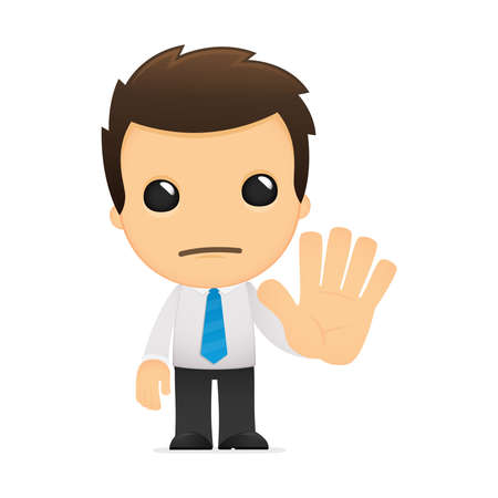 stop gesture: funny cartoon office worker Illustration