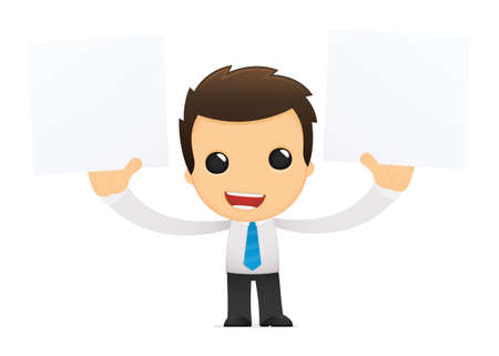 man holding a blank sign: funny cartoon office worker Illustration