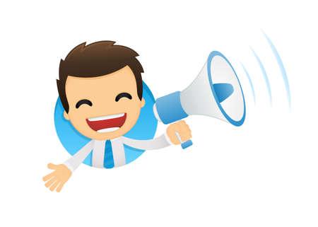 loud: funny cartoon office worker Illustration