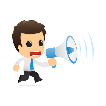 attention icon: funny cartoon office worker Illustration