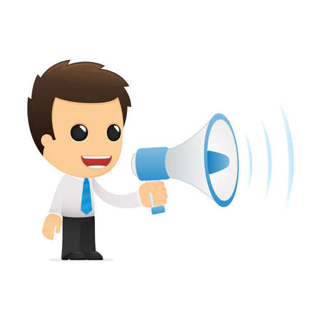 loudspeaker: funny cartoon office worker Illustration