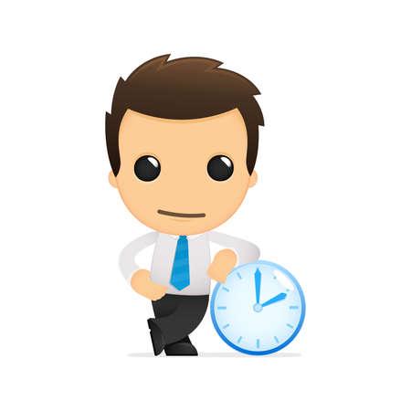 abstract alarm clock: funny cartoon office worker Illustration