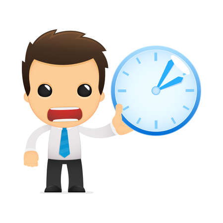 office worker cartoon: funny cartoon office worker Illustration