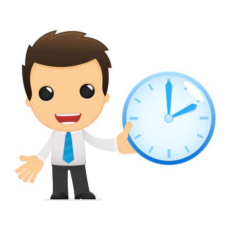 time clock: funny cartoon office worker Illustration