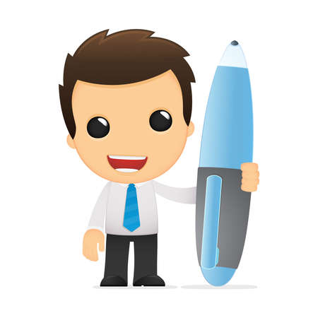 writing instrument: funny cartoon office worker Illustration