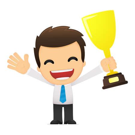 trophy award: divertida caricatura de empleado de oficina