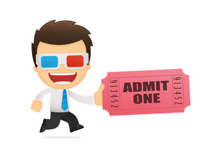 anaglyph: funny cartoon office worker Illustration