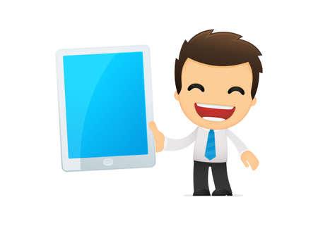 palmtop computer: funny cartoon office worker Illustration