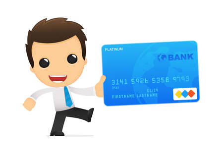 a bank employee: funny cartoon office worker Illustration