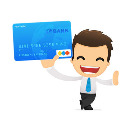 credit card purchase: funny cartoon office worker Illustration