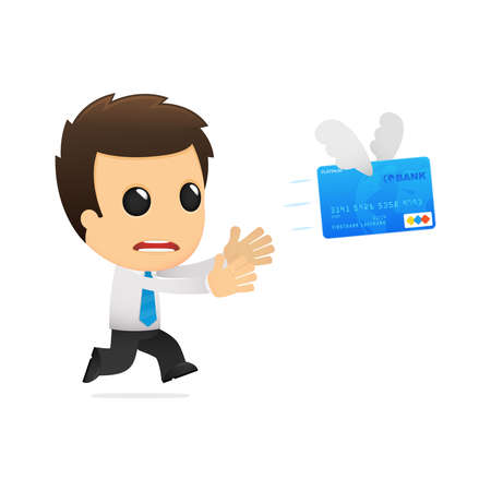 credit card debt: funny cartoon office worker Illustration