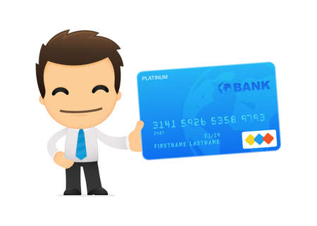 debit cards: funny cartoon office worker Illustration