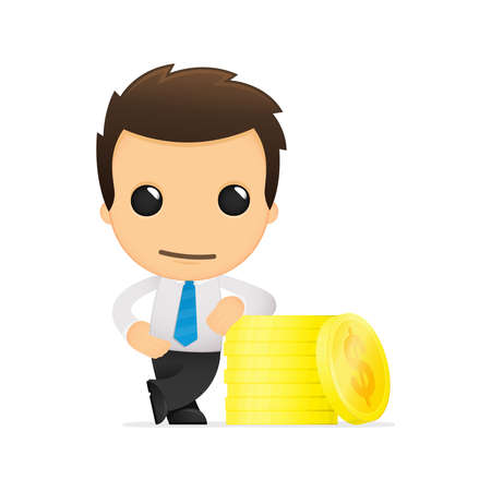 exchange profit: funny cartoon office worker Illustration
