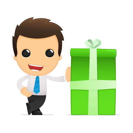 present presentation: funny cartoon office worker Illustration