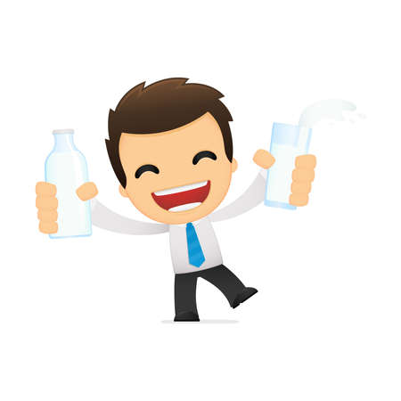 office products: funny cartoon office worker Illustration