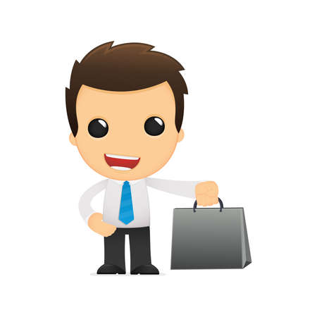 funny cartoon office worker Stock Vector - 12853321