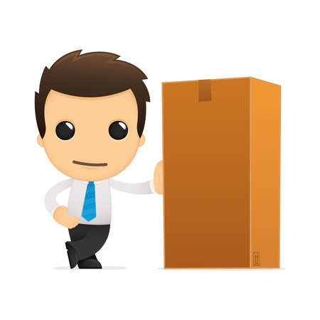 courier service: funny cartoon office worker Illustration