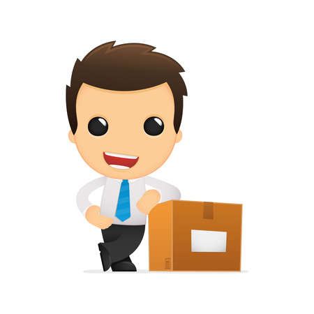 office product: funny cartoon office worker Illustration