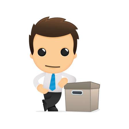 depository: funny cartoon office worker Illustration