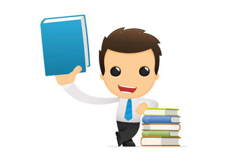 literary characters: funny cartoon office worker Illustration