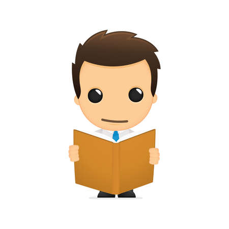 literary man: funny cartoon office worker Illustration