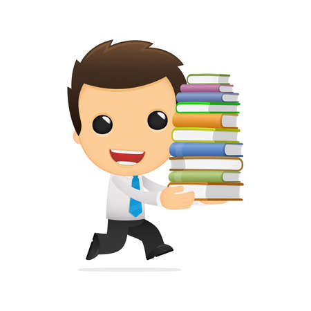 young business man: funny cartoon office worker Illustration