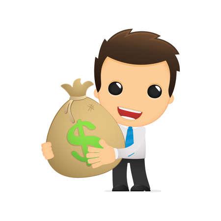 rich man: funny cartoon office worker Illustration