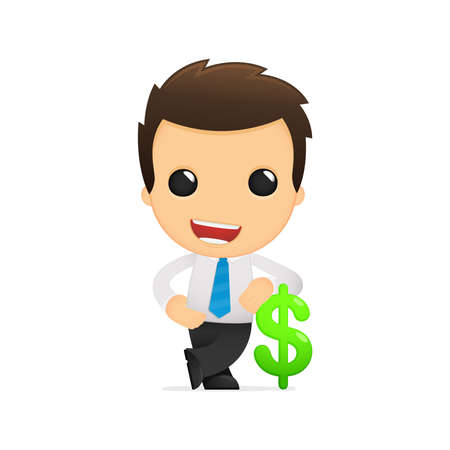 financial managers: funny cartoon office worker Illustration