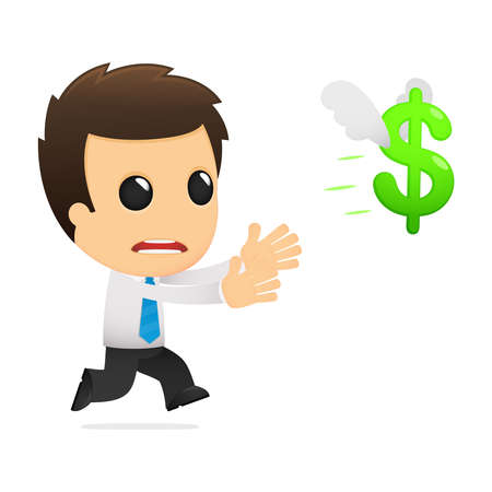 cartoon money: funny cartoon office worker Illustration