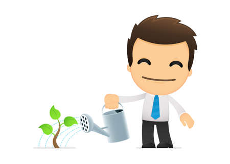 seedling growing: funny cartoon office worker Illustration