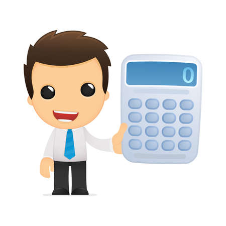 number button: funny cartoon office worker Stock Photo
