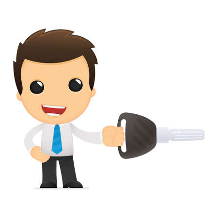 administrator: funny cartoon office worker Stock Photo