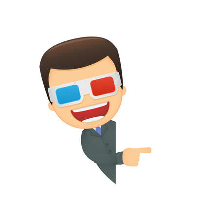 anaglyph: funny cartoon boss Illustration